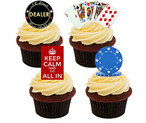 51Vwc4pGW2L - NO.1 BETTING 24 PRECUT Las Vegas Casino Poker Chip Themed Edible Wafer Paper Round Cake Toppers Decorations