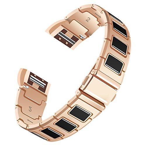 AISPORTS Armband für Fitbit Charge 2, Keramik, Edelstahl, Spleiß-Design, verstellbares Ersatzarmband für Fitbit Charge 2 Fitness-Zubehör Rose Gold/Black