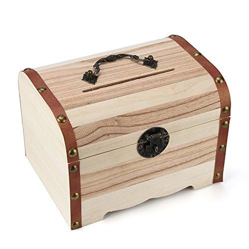 FiedFikt Spardose aus Holz mit Schloss, Holzschnitzerei, handgefertigt - Essentials Zubehör-set Chrom