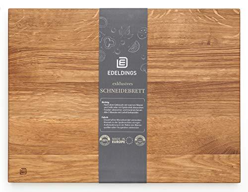 XXL Massivholz Schneidebrett aus Eiche | Groß 40 х 30 | 12 Monate Garantie | Küchenbrett Holz aus Europa | Antibakterielles Holzschneidebrett, Servierbrett, Holzbrett, Eichenholz massiv für Küche