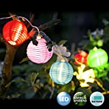 Deuba 12x LED Lampion Lichterkette | Laterne Deko Stofflampe | Batterie-betrieben | sparsame LED-Lampen | 6 verschiedene Farben