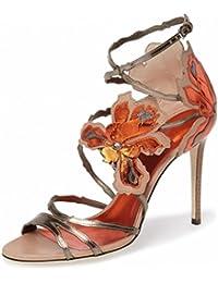 Lh$yu Sandalias de Mujer Womens High Heel Strap Buckle Flores Peces Boca Tall Tubo Azul Oro Rosa Señoras Stiletto...