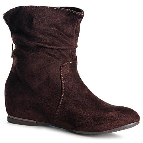 topschuhe24 975 Damen Keilabsatz Stiefeletten Boots Booties Braun