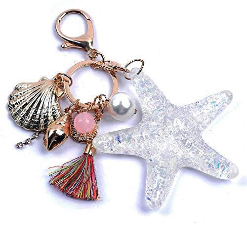 Unbekannt Sea World Schlüsselanhänger Kristall Seestern Perle Muschel Ocean Handtasche Dekoration Anhänger