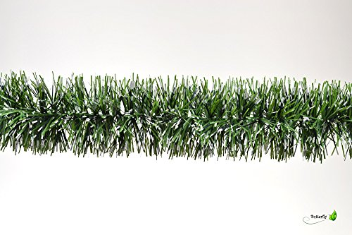 3m Grasgirlande Ø 5cm grün mit weißen Spitzen / Tannengirlande Weihnachtsgirlande Girlande Weinachten Christbaumschmuck Tanne Gras Deko Festzeltgirlande