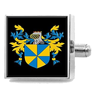 Allwin England Heraldry Crest Sterling Silver Cufflinks Engraved Message Box