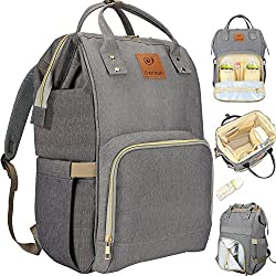 Pañal Bolso Mochila Multifuncional de Gran Capacidad, Impermeable Bolsa de Pañales Para Bebés y Mamá, Bolso de Viaje con Aislado Bolsillos, Moda y Duradero (Gris)
