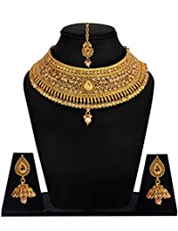 Khushiyan 18 K Gold Plated Antique Rajwadi Fashion/Imitation Jewellery Stone Choker Necklace Set For Girls And...