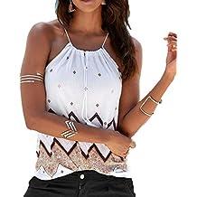 Chaleco Halter Mujer❤️EUZeo❤️Estampado Tirantes Camiseta Sexy Elegante Moda Blusas con Borla del