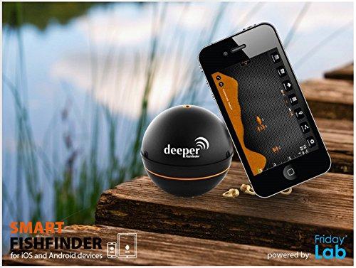 Deeper Pro Plus mit WIFI und GPS von Friday Lab mit 230 Volt Ladegerät & 12V Autoladegerät Adapter - Fischfinder mit WIFI wireless für iOS & Android Fishfinder für Tablet Smartphone iPhone iPad Smartphone Tablet Android 4.0 Apple iOS 7.0 Deeper Pro + - 7