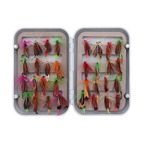 32pcs Nassfliegen Fliegenfischen Fliegen Kit Bass Lachs Forellen Fliegen Schwimmende, Woolly Bugger Nymphe Fliegen, Sinking Sortiment mit Fly Box (Barsch Fliegenfischen)
