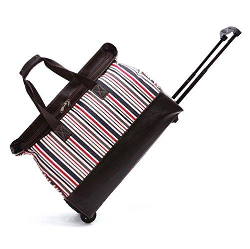 YAAGLE damen und herren 22 zoll Rollenreisetasche Trolley Reisegepäck Nylon Reisetasche Reisetrolley Handgepäck Blumen rot und weiß Streifen
