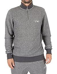 Emporio Armani Homme Mariné Half Zip Logo Loungewear Top, Gris