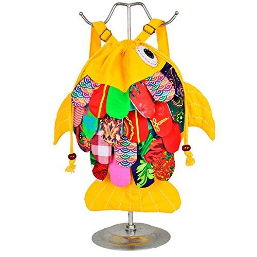 longlove Yunnan ethnische Besonderheiten handgefertigt Cloth Stil Schultertasche Süße Kätzchen Fisch Cartoon Charakter Rucksack gelb