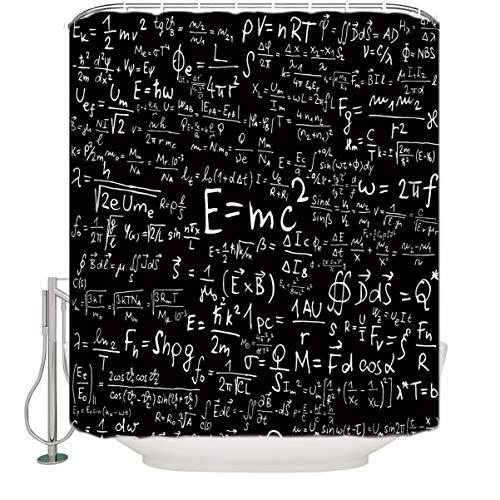 Einstein Physik Formel Wissenschaft Geek Wasserdicht Stoff Vorhang für die Dusche, 84x 183cm, schwarz weiß, Polyester-Mischgewebe, multi, 72x72 (Schwarz Stoff Dusche Vorhang Liner)