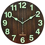 #4: B SQUARE 1 Feet Radium Night Glow Handcrafted Wooden Wall Clock for Home Bedroom Living Room Kitchen BSWC060