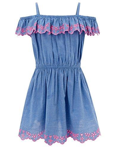 Bardot-Kleid aus Chambray mit Stickerei