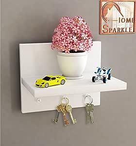 Home Sparkle Wall Shelf Cum Key Holder Engineered Wood (White)