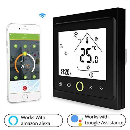 Termostato WiFi per Caldaia a Gas/Acqua,Termostato intelligente Schermo LCD(TN schermo) Touch Button Retroilluminato Programmabile con Alexa Google Home e Telefono APP-Nero