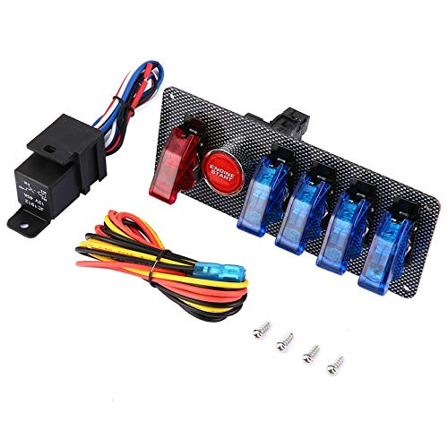 12V Racing Car Ignition Switch + 4 Blue & 1 Red Toggle Button Panel LED Toggle Professional Switch for Car Modification