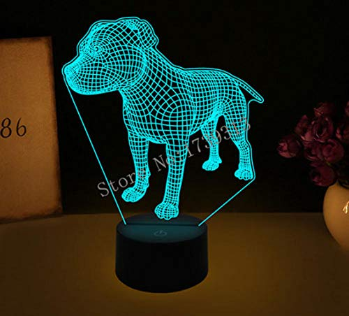 LULO 3D Visual Illusion Lampe Bulldog Pudel Jack Russell Terrier Rottweiler Dobermann LED Nachtlicht Dog Style Schreibtisch Light-AD -