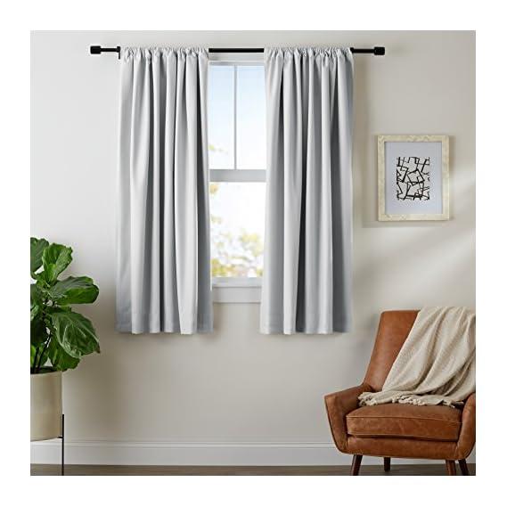 AmazonBasics Room Darkening Blackout Curtain Set of 2 with Tie Backs - 245 GSM - (5.25 Feet - Window) 52 x 63 - Light Grey