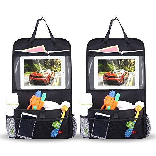 INTEY 2 Autositz Organizer Stück Wasserdicht Rückenlehnenschutz Multi Tasche Rücksitz Organizer Auto Aufbewahrungstasche Rücksitztasche Kinder Rücksitzschoner iPad-Tablet-Halter [58 cm * 34 cm]