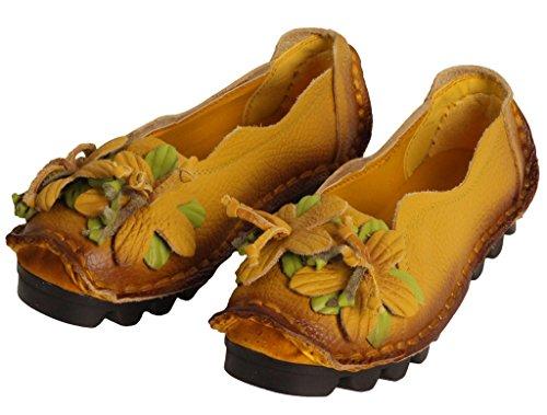 Vogstyle Damen Weinlese Blumen Handgemachte Lederschuhe Flats Art 1 Gelb