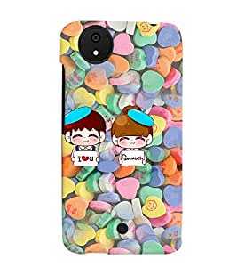 Fuson Heart Pattern Couple Back Case Cover for MICROMAX CANVAS A1 ANDROID ONE - D3984