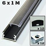 6 barre da 1 metro P2 Profilo in alluminio colore nero, per striscie LED, con copertura trasparente, tappi e clips da montaggio