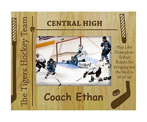 Eishockey-bilderrahmen (personifizierte Eishockey-Team Holz graviert Bilderrahmen anpassbare Geschenk -4 x 6 Zoll horizontal)