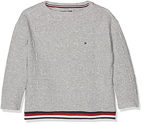Tommy Hilfiger 3D Logo BN Hwk L/S, Sweat-Shirt Fille, Gris (Grey Heather), 14 Ans (Taille Fabricant: 14)