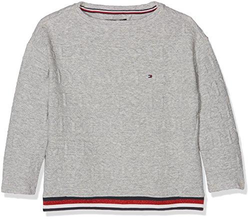 Tommy Hilfiger Mädchen Sweatshirt 3D Logo BN Hwk L/S, Grau (Grey Heather 004), 10 Jahre (Bn Mädchen)