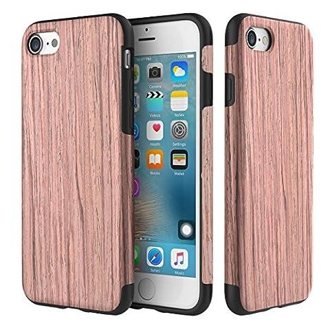 Coque iPhone 8/7,ROCK Réal Naturel Grain de Bois Coque étui Cas[TPU Souple][Double Couche][Plaque Métal][Support Voiture Aimanté]pour iPhone 7(4,7 inch) - Bois de santal