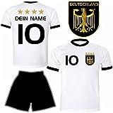 Deutschland Trikot + Hose mit GRATIS Wunschname + Nummer + Wappen Typ #D 2020 im EM / WM weiss - Geschenke für Kinder,Jungen,Baby,.. Fußball T-Shirt personalisiert als Weihnachtsgeschenk
