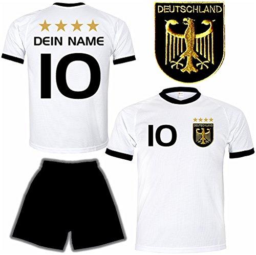Deutschland Trikot + Hose mit GRATIS Wunschname + Nummer + Wappen Typ #D 2020 im EM / WM weiss - Geschenke für Kinder,Jungen,Baby,.. Fußball T-Shirt personalisiert als Weihnachtsgeschenk (Personalisierte Sport-geschenke)