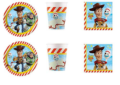 Party Store Web by casa süße Toy Story 4 Coordinate ADDOBBI Tisch Festa Woody und Buzz Lightyear - Kit Nr. 16 CDC-(8 Gläser), 20 Töpfe (Party-dekorationen Toy Story)