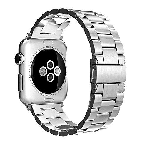 Fintie Apple Watch Armband - Edelstahl Metall Ersatz Band UhrBand Uhrenarmband Replacement mit Doppelt verriegender Faltschließe für Apple Watch Alle Modell 42mm Series 3 Series 2 Series 1, Sliver