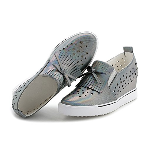 Damen Lässige Quaste Bowknot Hohl Atmungsaktive Flache Slip On Weiche Dicke Sohle Aufzug Sneakers Grau
