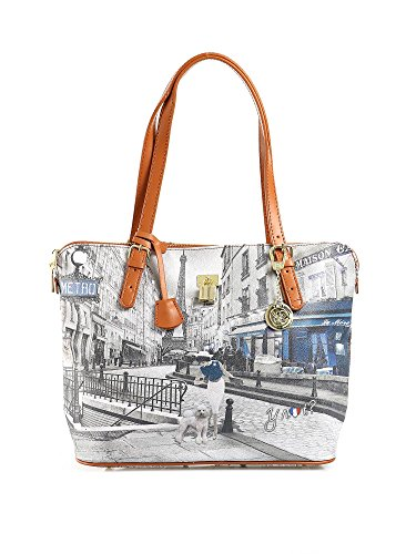 Y NOT? - Borsa shopper donna clip manici shopping medium g-377 parigi metro parisienne