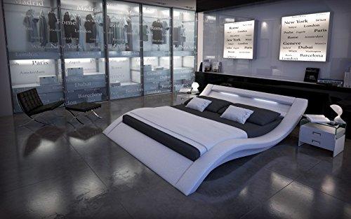 Designer Luxus Wasserbett LOOK Weiß 200 x 220 cm LED Beleuchtung Mono Designerbett Softside Komplett Set