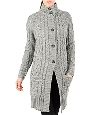 Wool Overs Women's Pure Wool Aran Ladies Coat Cardigan Black Large