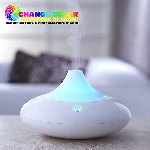 Bakaji Profumatore Umidificatore Ambiente 2 in 1 Diffusore Aromi con Luce LED RGB Moodlight Cambio Colore