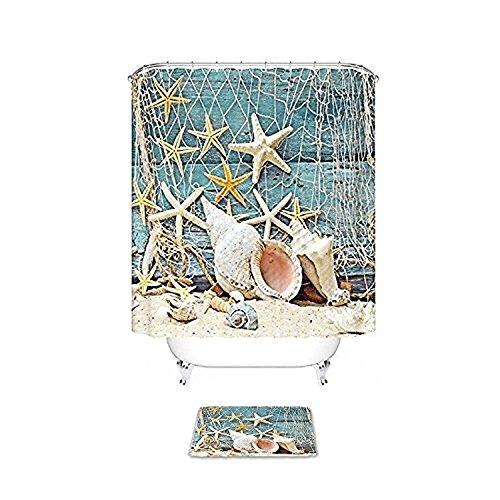Vandarllin Seashell Conch Seestern Badezimmer Duschvorhang-Set mit Badteppichen, Fischernetzen, Strand Ocean Decor Holzmuster Badezimmer Zubehör