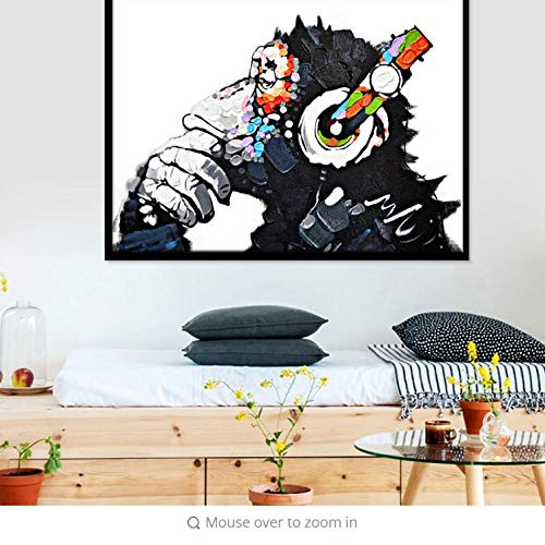 Wall Stickers Art Sticker Murals Decal Decals Children Vinyl Animal Monkey Canvas Printed Painting Modern Funny Thinking Monkey with Headphone Wall for Living Room Decor No Frame -