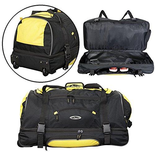 Reisetasche mit Rollen 2,6 kg Trolley Tasche 106 L Handgepäck Ramieres Blau 76x35x40cm (Blau) Gelb