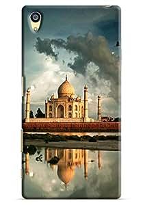 Omnam World First Wonder The Taj Mahal Printed Designer Back Cover Case For Sony Xperia Z5 Premium