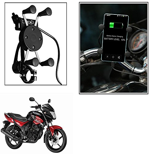 Vheelocityin Spider Bike Mobile Holder with USB Charger Mototrcycle Mobile Holder BracketFor Yamaha Sz-Rr Ver 2-0