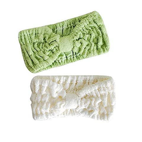 Ladies Fashion Bamboo Fiber Wide Bow Towel Elastic Hair Band Hairlace Headband Hair Bandeau Snood For Washing Face Cosmetic Makeup 2pcs (White+ Mint