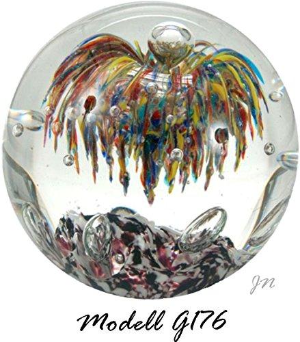 Traumkugel- Briefbeschwerer groß: Motiv Bunte Blume und klare Blasen - Handarbeit